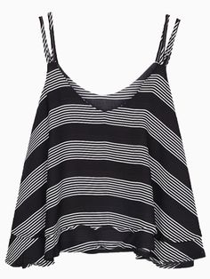 Black Stripes Spaghetti Strap Vest