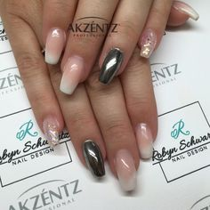 French ombré coffin gel nails with silver Chrome