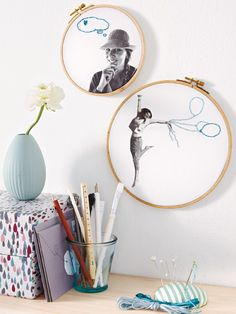 Make a photo wall yourself – creative ideas - selber machen dekoration Diy Embroidery, Embroidery Patterns, Nature Crafts, Fun Crafts, Contemporary Embroidery, Quirky Gifts, Embroidery For Beginners, Diy Projects To Try, Kids Decor