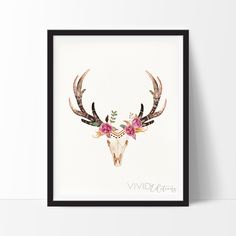 beautiful print to give as a christmas gift! Floral Deer Skull 2