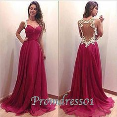 #promdress01 prom dresses - cute open back rose lace chiffon long prom dress for teens, ball gown, evening dress