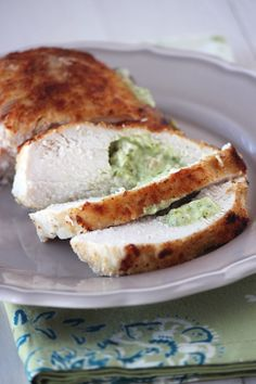 made this for dinner tonight ... it was delicious! [Pesto Cream Cheese Stuffed Chicken]