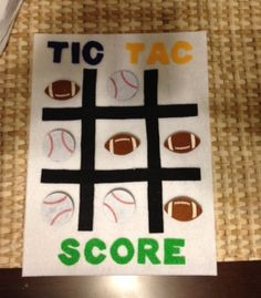 Tic Tac Toe with baseballs and footballs quiet book pate