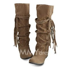Concise Women's Boots With Tassels and Pure Color Design (LIGHT YELLOW,39)   Sammydress.com Mobile