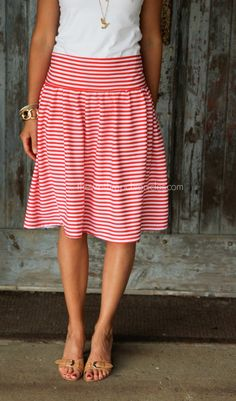 I love little skirts I can pair with a cute Tee all summer long! Red and white striped drop waist cotton skirt.