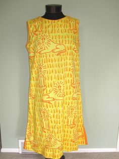 Vintage Leonine THE VESTED GENTRESS Cotton/Poly Yellow/Orange Dress Size 18 NO RES #TheVestedGentress