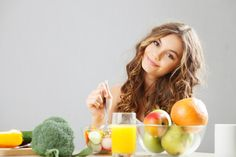 The same girl having her usual healthy breakfast — a bowl of fruit and vegetable slices. | 18 Stock Models Who Don't Understand How Food Works