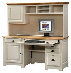 Personalize This Solid Wood Office Desk & Hutch Set in White & Toast Finish SD no hutch but like white with wood top