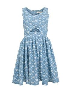 Parisian Blue Floral Keyhole Cut Out Dress from New Look