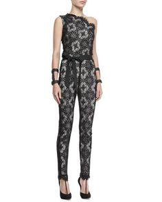 Blanchett Lace One-Shoulder Jumpsuit by Alexis at Neiman Marcus.