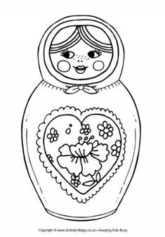 Matryoshka Doll Colouring Page 4 - lots of other Russia coloring pages as well