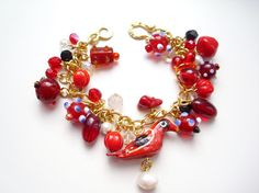Red Bird  Gold Plated Dangle Bracelet  Red OOAK by moribynihal