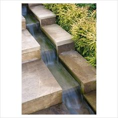 prevent those Escher moments create a rill within your steps and let gravity be your guide.To prevent those Escher moments create a rill within your steps and let gravity be your guide. Outdoor Water Features, Water Features In The Garden, Modern Water Feature, Garden Stream, Water Garden, Back Gardens, Outdoor Gardens, Outdoor Stairs, Modern Stairs