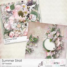 Lara´s Digi World: Summer Stroll Collection Collab with ADB Designs quick-page freebie - august 2014 Digital Scrapbooking Freebies, Digital Backgrounds, August 2014, Journal Cards, Diy Wall, Starters, Overlays, Fonts, Gift Wrapping