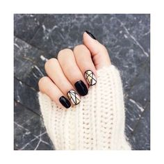 16 Chic Black and White Nail Designs You Will Love ❤ liked on Polyvore featuring beauty products, nail care and nail treatments