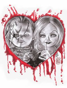 Find images and videos about tiffany, horror movie and Chucky on We Heart It - the app to get lost i Horror Movie Characters, Horror Movies, Horror Movie Tattoos, Chucky Drawing, Payasa Tattoo, Epic Tattoo, Chucky Tattoo, Arte Zombie, Childs Play Chucky