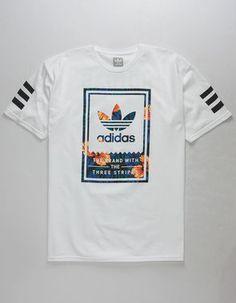 Adidas Classic Sweet Leaf T-Shirt. Adidas logo graphics screened on front and back. Adidas tag at hem. Shirt Print Design, Tee Shirt Designs, Camisa Gucci, Addidas Shirts, Adidas Sweatshirt Mens, Tee Shirt Homme, T Shirt Men, Mens Tee Shirts, Streetwear