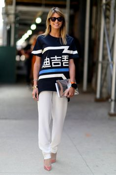 Pin for Later: #TBT: See All the Best Street Style From NYFW Last Season NYFW Street Style Day 2 Helena Bordon hit just the right note in easy trousers and a statement top.