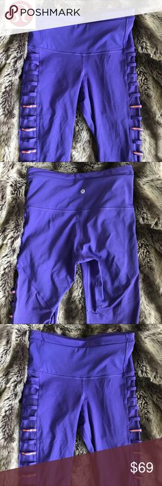 Lululemon | Rare 1/2 Tight Leggings Worn once | in perfect condition purple and orange color | Capri style cuts off right below the knee | Approx 25 inches long (top of waist to bottom hem) Women's size 6 | Open to reasonable offers lululemon athletica Pants Leggings
