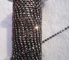 Fashion costume applique black crystal glass rhinestones close black cup claw trims chain wedding decoration 1Yard