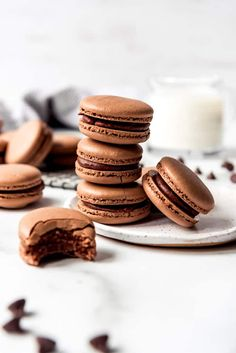 These indulgent Chocolate Macarons are filled with dark chocolate ganache and I promise they are easier to make than you would think! Don't be intimidated by this classic french dessert. Follow my tips for the best chocolate macarons that not only taste as good (if not better) than the ones from a high-end bakery, but also don't cost an arm and a leg! #macarons #french #homemade #easy #ganache #recipe #filling #withganache French Chocolate Macarons Recipe, French Macaroon Recipes, Chocolate Macaroons, Chocolate Diy, Chocolate Recipes, Chocolate Ganache, Classic French Desserts, Classic French Macaron Recipe, Macaroon Filling