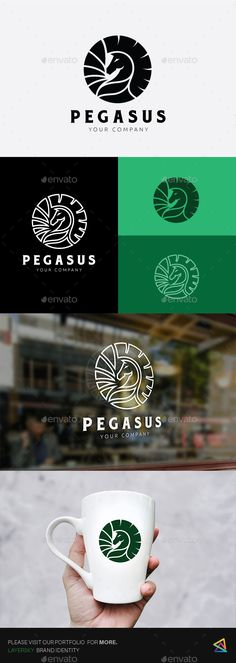 Pegasus Logo by LayerSky This logo design for all creative business. Consulting, Excellent logo,simple and unique concept. Logo Template Features PSDAI and