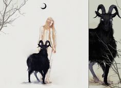 "Black Phillip, Black Phillip King of sky and land, Black Phillip, Black Phillip King of sea and sand. Some weeks ago I rewatched ""The Witch"" movie and felt compelled to draw the most magnificent, s..."