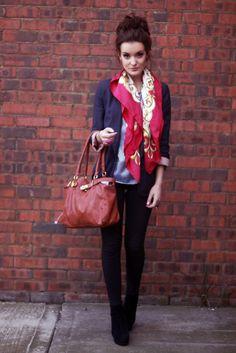scarf, bag, bun