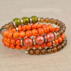 Make this simple memory wire bracelet in autumn colors! Memory wire bracelets are perfect for beginners making DIY jewelry, and this bright bangle takes just 15 minutes.