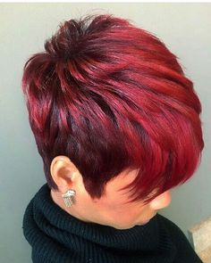 Best Short Pixie Hairstyles for Black Women 2018 – 2019 – The UnderCut - Coole Kurzhaarfrisuren Short Sassy Hair, Short Hair Cuts, Short Hair Styles, Short Pixie, Pixie Cuts, Red Pixie, Black Hair Cuts, Pixie Styles, Straight Hair