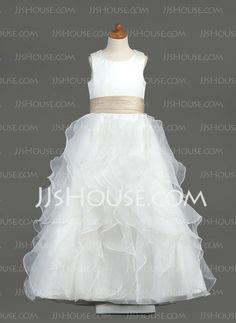 Flower Girl Dresses - $97.49 - A-Line/Princess Scoop Neck Floor-Length Organza  Satin Flower Girl Dresses With Sash (010005799) http://jjshouse.com/A-line-Princess-Scoop-Neck-Floor-length-Organza-Satin-Flower-Girl-Dresses-With-Sash-010005799-g5799