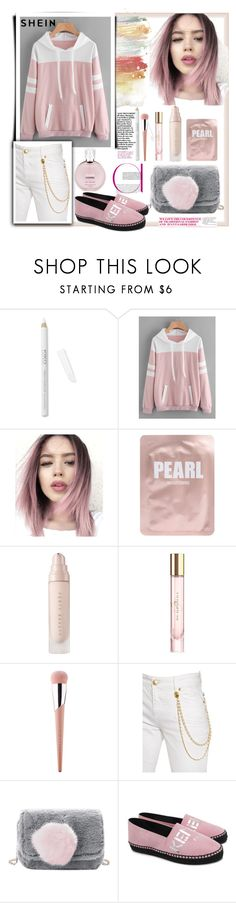"""""""Shein.Contrast Panel Varsity Striped Hoodie"""" by natalyapril1976 ❤ liked on Polyvore featuring Lapcos, Burberry, Puma, Pierre Balmain, Kenzo and Chanel"""