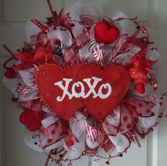 XOXO Double Heart Valentine Deco Mesh Wreath