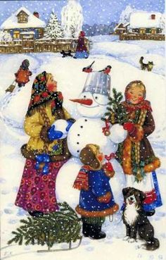 fete noel vintage gifs images - Page 3 Christmas Scenes, Christmas Mood, Christmas Snowman, Vintage Christmas, Christmas Ornaments, Winter Illustration, Christmas Illustration, Gif Fete, Ukrainian Christmas
