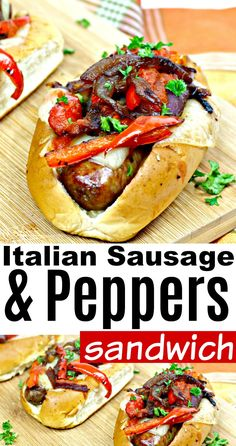 Sausage Sandwich Recipes, Sausage And Peppers Sandwich, Italian Sausage Sandwich, Sausage Peppers And Onions, Sausage Sandwiches, Italian Sausage Recipes, Stuffed Peppers, Italian Sandwiches, Appetizer Sandwiches