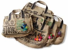 Coffeebean Bags, made of used burlap cofeebean sacks. By Handwerkjuffie.