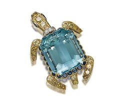 Turtle brooch, aquamarine, sapphire, coloured diamond and diamond, Cartier