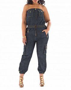 827ea232fd9 Baby Phat Plus Size Denim Jumpsuit Strapess  UNIQUE WOMENS FASHION Plus  Size Denim Jumpsuit