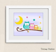 PRINTABLE NURSERY OWL Branch Wall Art Moon Stars Digital Download Baby Girl Room Decor Owl Nursery Decor, Baby Girl Room Decor, Star Nursery, Nursery Wall Art, Girl Nursery, Art Store, Stars And Moon, Printable Wall Art, Digital Prints