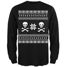 489ba6efbaf Skull   Crossbones Ugly Christmas Sweater Black Long Sleeve