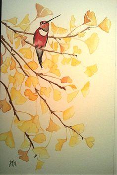 Bird on ginkgo tree - watercolor