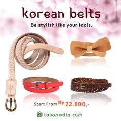Lagi nyari ikat pinggang yang cocok untuk dipasangkan dengan blouse atau dress? Beli aja ikat pinggang Korea di Tokopedia. Yuk beli sekarang di http://www.tokopedia.com/hot/ikat-pinggang-korea mulai dari Rp 22.800,- (harga bervariasi)