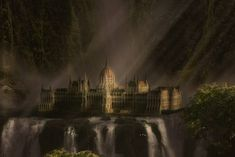 Waterfall Palace Digital Matte painting – photoshop tutorial
