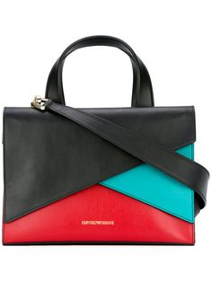 EMPORIO ARMANI Colour Block Tote. #emporioarmani #bags #shoulder bags #hand bags #leather #tote #cotton #