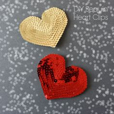 Adorable little hearts easily made from strings of sequins, a little backing felt, and a glue gun.  Make into pins or clips for a little sparkling fun!  From ForChicSake.com