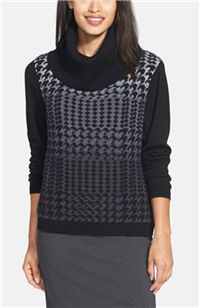 Lafayette 148 New York - Houndstooth Jacquard Crop Turtleneck Sweater: The houndstooth design on this wide turtleneck is a great addition to your office wardrobe.