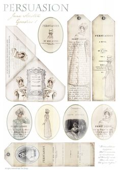 JANE AUSTEN GOODIES 1 - Persuasion - Bookmarks - Digital Scan - Printable Download - Tags - Romantic via Etsy