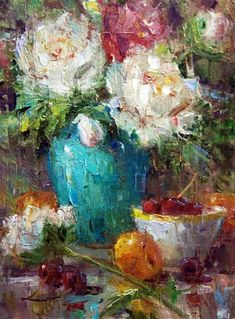 """Peonies and Turquoise"" - Original Fine Art for Sale - © Julie Ford Oliver"