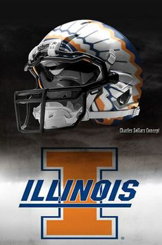 Chief Illiniwek Illinois concept football helmet.  Incredible headdress! Fantastic. Lord, do they need to change to this.