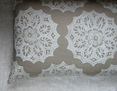 White Lace Medallion on Warm Gray Cottage Chic Home Decor hand printed linen pillow case. $48.00, via Etsy.